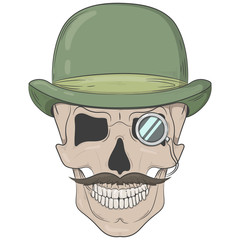 Skull in a bowler hat. gentleman skull with a monocle. Vector print