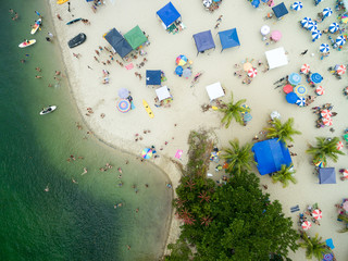 Top View of a Paradise Top View of a Crowded Beach