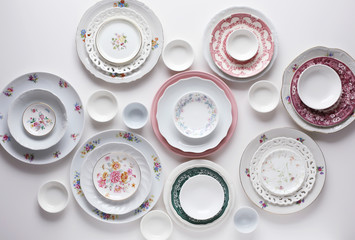 Plates on white table