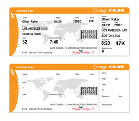 Airline Boarding pass with QR code. Vector illustrator