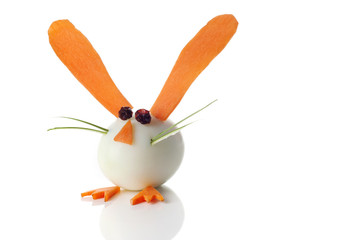 Food art creative concepts. Cute rabbit over white background.