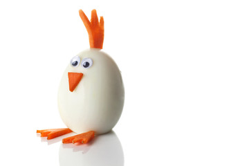 Food art creative concepts. Cute chicken over white background.