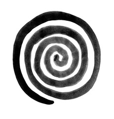 Spiral in a circle drawn by the brush painted black paint. Radial rotation snail. Circular coil ornament.