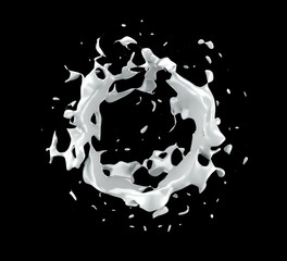 White splash isolated black background. 3d illustration, 3d rendering.
