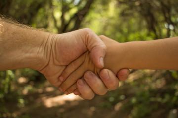 padre e hijo tomados de la mano