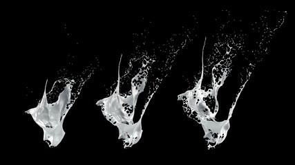 Collection isolated bursts white black background. 3d illustration, 3d rendering.