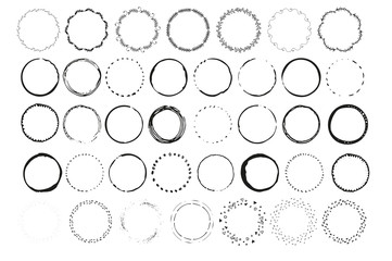 Big set of handdrawn elements with circles.  Round templates  isolated on background and easy to use. Vector illustration.
