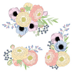 Set of  bouquets with anemone and ranunculus