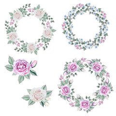 Set with floral wreaths in watercolor