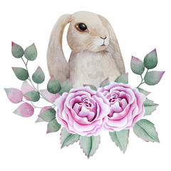 Rabbit and Roses watercolor illustration