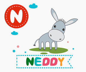 Hand drawn letter N and funny cute neddy