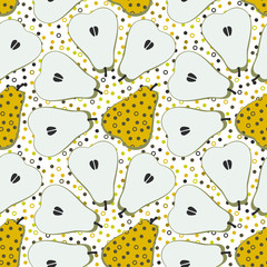 Pear fruit motif seamless pattern. Colorful decoration design background. Trendy memphis style illustration with dots and circles