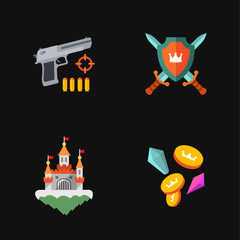four flat game icons