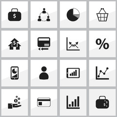 Set Of 16 Editable Logical Icons. Includes Symbols Such As Phone Statistics, Cash Briefcase, Graph Information And More. Can Be Used For Web, Mobile, UI And Infographic Design.