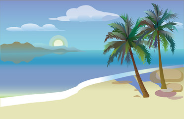 flat vector illustration of palm trees and the sea. Card with palm trees. Tropical island. Shangri-la