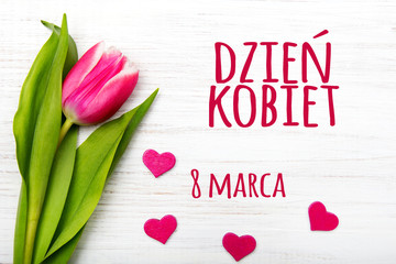 Women's day card with Polish words DZIEŃ KOBIET. Tulip flower small hearts on white wooden background.