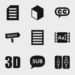 Set of 9 text filled icons