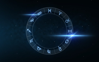 signs of zodiac over night sky and stars