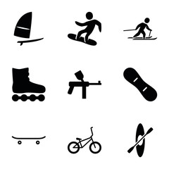 Set of 9 extreme filled icons