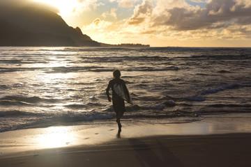 Surfer; Sunset; Hanalei, Kauai,Hawaii