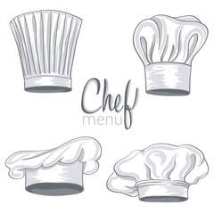 collection of hand drawn chef hat on white. vector illustration