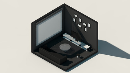 Isometric scene, 3d rendering room, amazing rendering, black and white