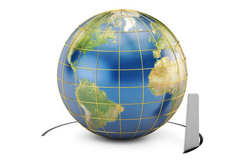 Earth Globe with cutting saw, 3D rendering