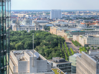 Aerial view on Brandenburg Gate and Reichstag.