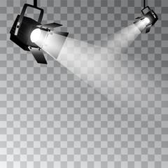 Tuinposter Licht, schaduw Set of vector scenic spotlights