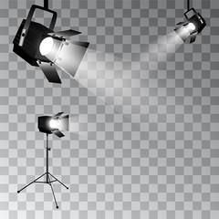 In de dag Licht, schaduw Set of vector scenic spotlights