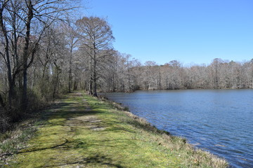Trail across the dam in Wall Doxey State Park, Mississippi