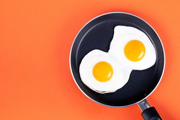 Fond de hotte en verre imprimé Ouf fried eggs in a pan two eggs on an orange background