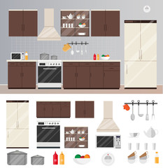 Kitchen interior flat style vector modern of Illustration set