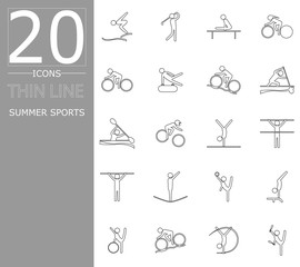 eps 10 vector set of summer sport icons. Thin line sport signs collection. Indoor and outdoor activities, single and team sport included. Graphic illustration clip art for design, mobile, web, print