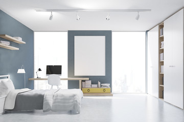 Gray walled bedroom with study corner, front