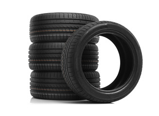 Car tires isolated on white.