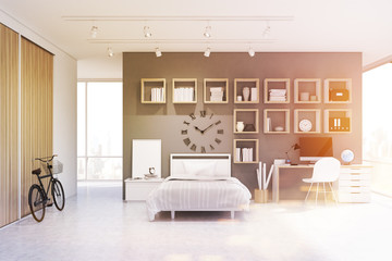 Studio apartment with bed, clock, gray, toned