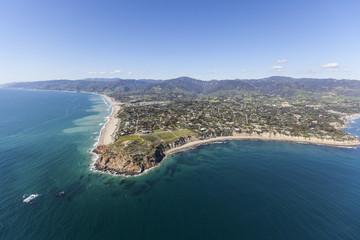Aerial shoreline view of Point Dume in Malibu, California.