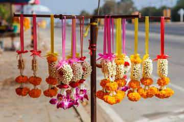 Thai flower garland for buddhist religious ceremony