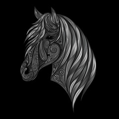 Vector silhouette of gray horse of beautiful patterns on a black background