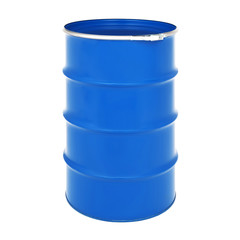 Blue Metal Oil Barrel Isolated on White Background. Black Gold. Storage Container, Drum