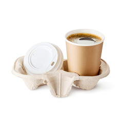 Brown Paper Coffee Cup with Lid and Kraft Paper Container Isolated on White Background. Takeaway Cup