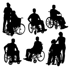 Disabled and Old people Silhouettes, art vector design