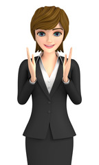 3D illustration character - A business woman who is gazing at light