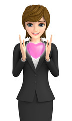 3D illustration character - A business woman who is gazing at the shining heart