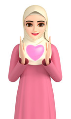 3D illustration character - The Islamic woman who is gazing at the shining heart