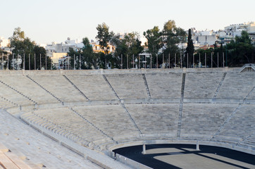 Kallimarmaro stadium,A stadium was built on the site of a simple racecourse by the Athenian statesman Lykourgos