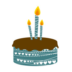 colorful picture birthday cake with candles vector illustration