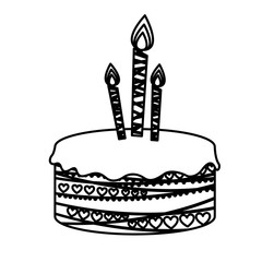 silhouette picture birthday cake with candles vector illustration
