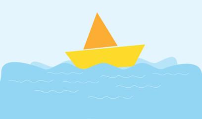 cartoon boat in a sea vector